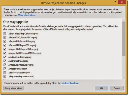 Upgrade projects from older version of Visual Studio
