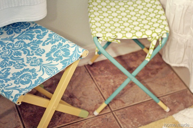 turquoise and yellow stool