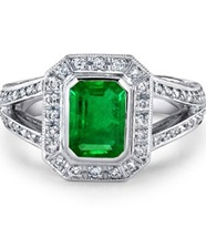 Emerald Cut Emerald and Diamond Vintage Ring