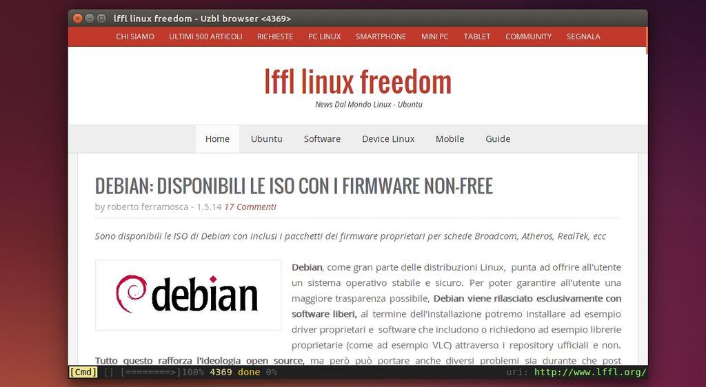 Uzbl in Ubuntu Linux