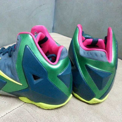 nike lebron 11 ss green pink yellow 1 02 Nike LeBron XI GS   Navy / Green / Pink / Yellow