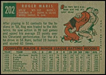 1959 Topps 202 roger maris gray back