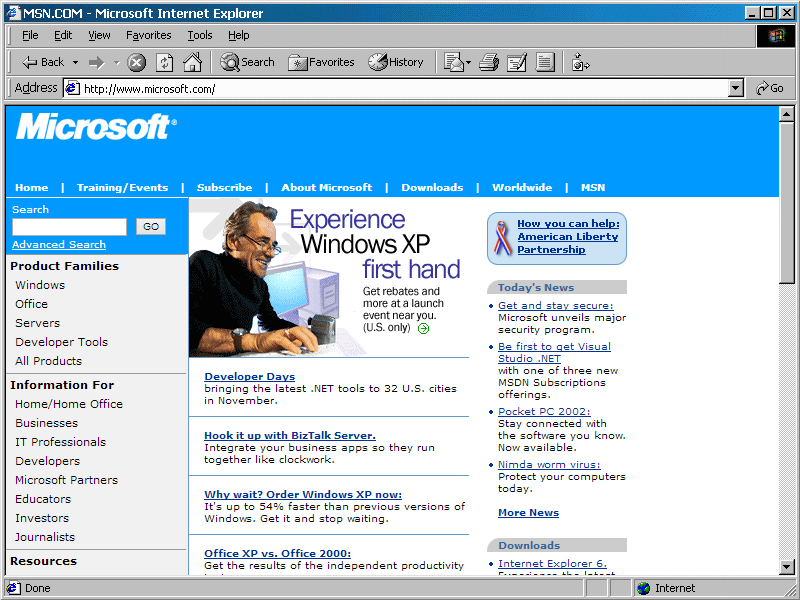 microsoft.com loaded in Internet Explorer 5