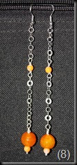 Sterling Silver Earrings with 8 mm Orange Agate and 2mm orange shell (2)