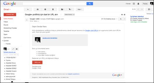 Google+ Kişiye Özel URL