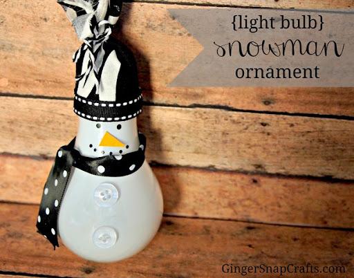 {light bulb} snowman ornament from GingerSnapCrafts.com