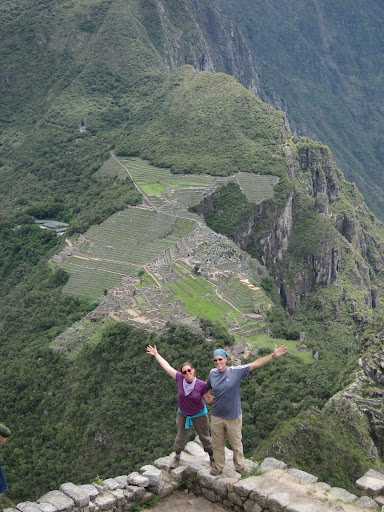 Atop a stone wall on Wayna Picchu