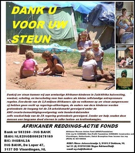 ARAF AFRIKANERACTIEREDDINGSFONDS AD NR 1 with bank info adress nonprofit reg nr AFRIKAANS