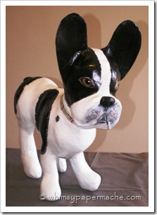 paper mache clay french bulldog sculpture