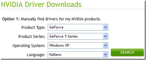 Scaricare driver NVIDIA per la scheda video
