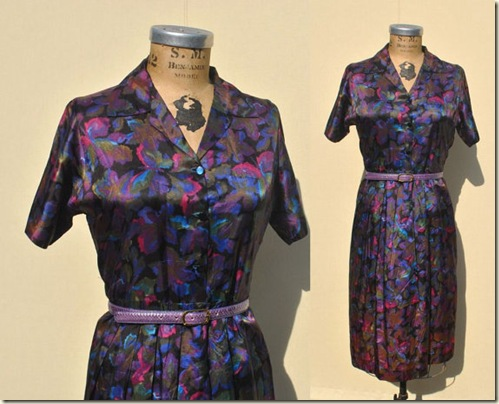 1940s vintage Silk Day Dress
