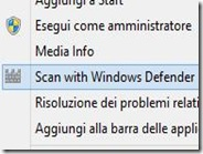 Scansione manuale dei file con Windows Defender dal tasto destro del mouse