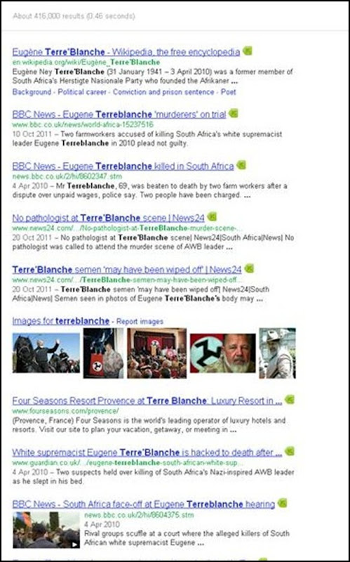 TerreBlanche Google results 436000 Dec 23 2011