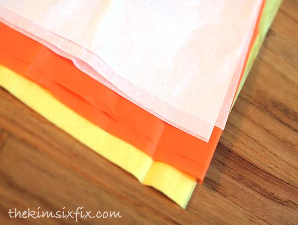 Tissue paper candy corn pom pom