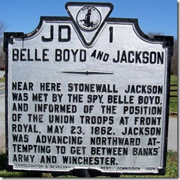 Belle Boyd and Jackson marker JD-1 south of Front Royal, VA