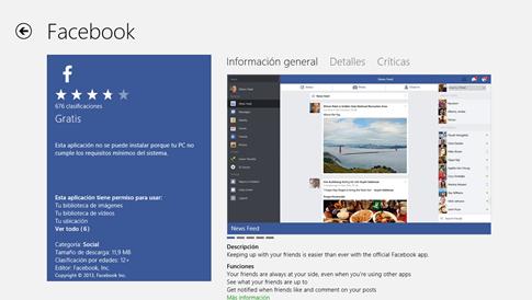 Por qué no puedo descargar Facebook en Windows 8