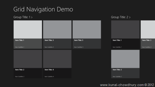 Grid app of Windows Store Project