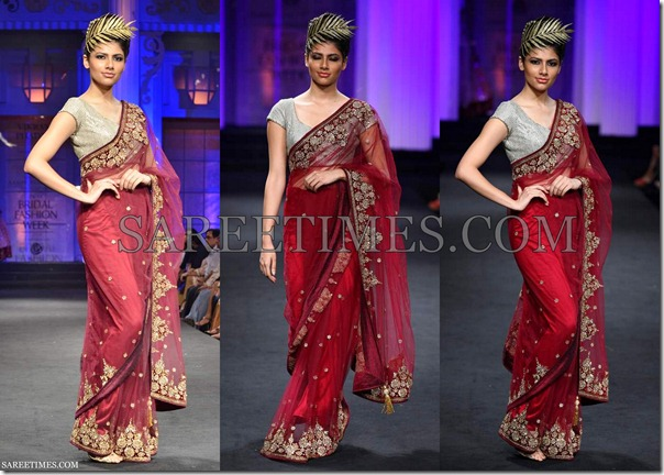 Vikram_Phadnis_Maroon_Shimmer_Saree