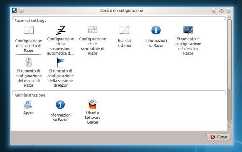 Razor-qt 0.5.0 - centro di configurazione