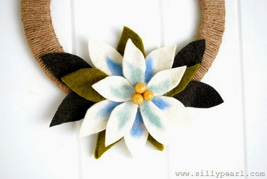Felted Wool Poinsettia Wreath by The Silly Pearl