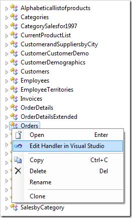 Using the context menu option 'Edit Handler in Visual Studio'.