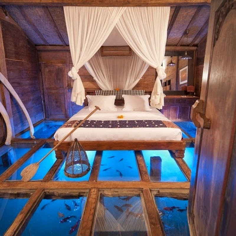 A Glass Bottomed Hotel Bedroom in Bali