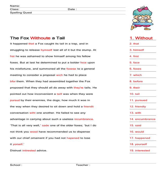 The Fox Without a Tail worksheet