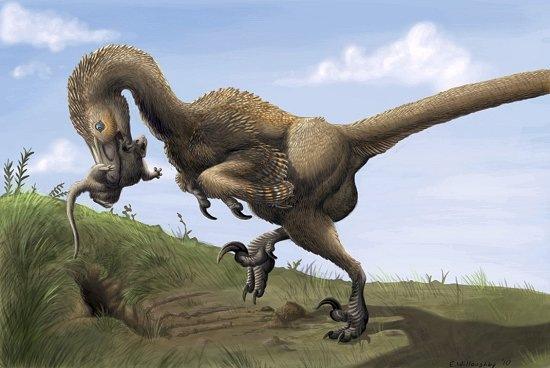 Dinosaurio atrapa pequeño mamífero
