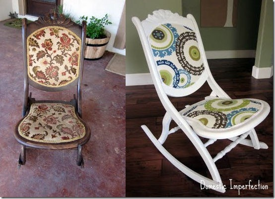 friday feature--painted and reupholstered rocking chair from domestic imperfection blog