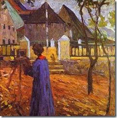 KANDINSKY Gabriele Münter pintando en Kallmünz