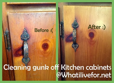 Cleaning gunk off kitchen cabinets