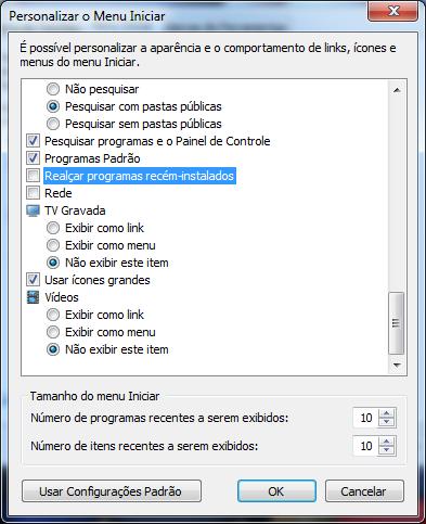 Desmarque a opção Realçar programas recém-instalados e clique em Ok.