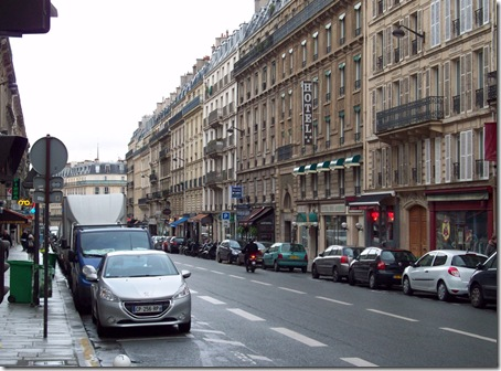 view down street of apartment- Rue Claude Bernard