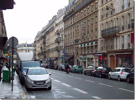 view down street of apartment- Rue Claude Bernard