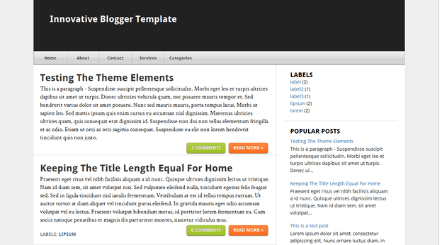Innovative template blogger
