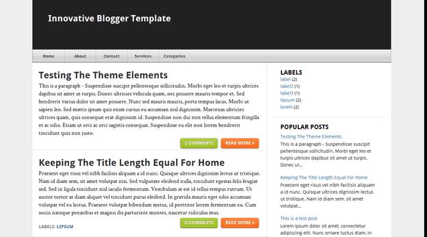 Innovative template blogger