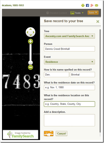 Specify the tree, person, and event information.