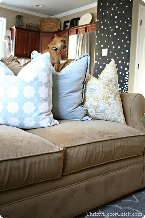 blue yellow pillows