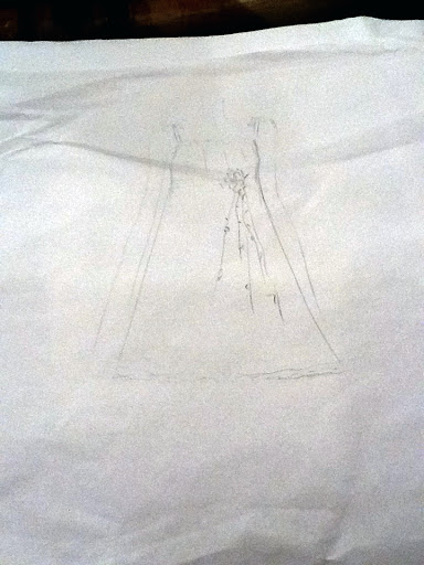 A sketch of the little girls' dress by Keny, who suggested that Tete Mercado create the actual garments.