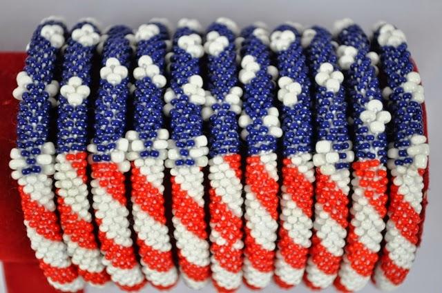American Flag Bead Bracelets