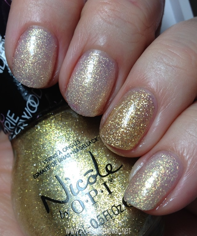 Nicole by OPI Sing Like a Bee with Carrie'd Away on ring finger