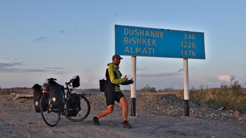 Just a bit more until Bishkek, even though the detour through the Pamir adds at least 1000 kilometers.