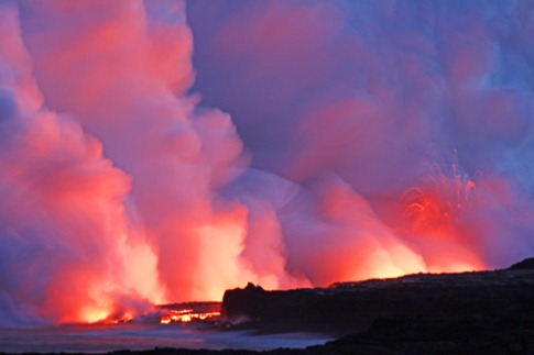 117, lava glowing at night ocean Kilauea