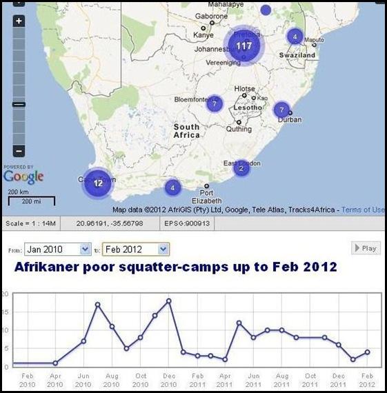 Afrikaner Squatter camps Feb 2012 MAP on Farmitracker com
