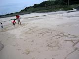 Kai leaving his mark on Yokino beach, in Tanegashima