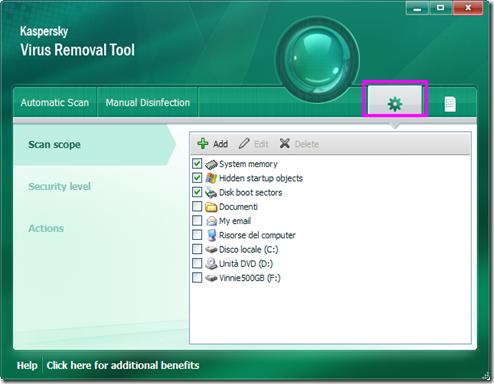 Kaspersky Virus Removal Tool 2011 Scan Scope