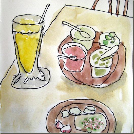 Juice, salsa y taco. Taqueria Rico Mac