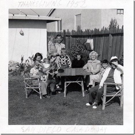 The Webster Family  Thanksgiving 1952 in San Diego California