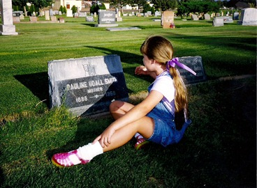 Chelsea by Pauline's grave, 2001