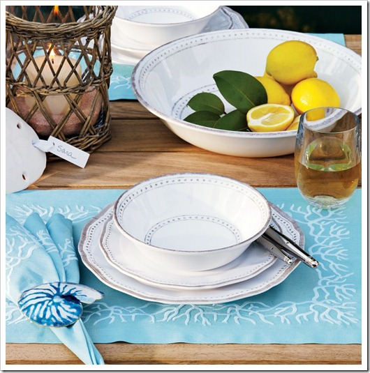 blue coral place setting